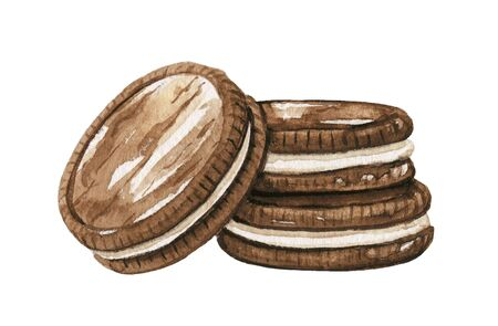 Three chocolate round cookies sandwich isolated on white background. Watercolor hand drawn illustration