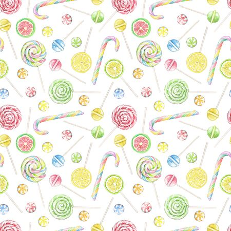 Seamless pattern with multicolor candies, lollipops and sweets isolated on white background. Watercolor hand drawn illustration Zdjęcie Seryjne