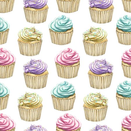 Seamless pattern with multicolor various color muffins with cream isolated on white background. Watercolor hand drawn illustration Zdjęcie Seryjne