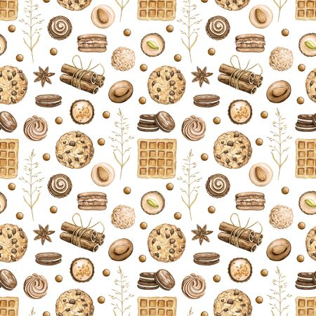 Seamless pattern with cinnamon sticks, clove stars and twigs isolated on white background. Watercolor hand drawn illustration