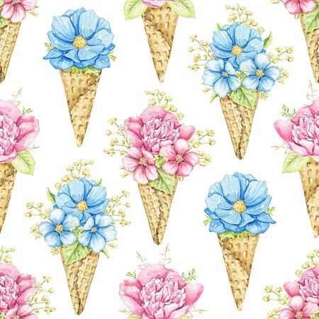 Seamless pattern with bouquets with pink and blue flowers in waffle cones isolated on white background. Watercolor hand drawn illustration