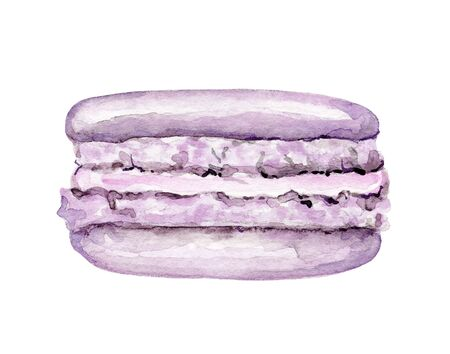 One purple macaroon isolated on white background. Watercolor hand drawn illustration