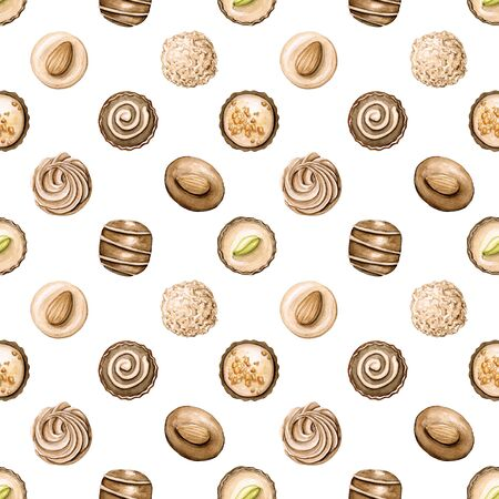 Seamless pattern with various chocolate candies isolated on white background. Watercolor hand drawn illustration