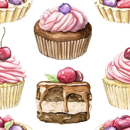 Seamless pattern with various cupcakes with berries isolated on white background. Watercolor hand drawn illustration