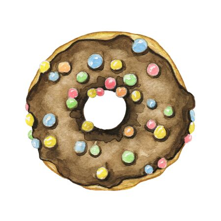 One round donut with chocolate glaze and colorful topping isolated on white background. Watercolor hand drawn illustration