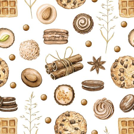 Seamless pattern with cinnamon, chocolate candies, cookies and waffles isolated on white background. Watercolor hand drawn illustration Zdjęcie Seryjne