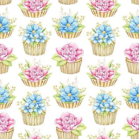 Seamless pattern with bouquets with pink and blue flowers in cupcakes isolated on white background. Watercolor hand drawn illustration Stok Fotoğraf