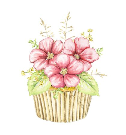 Muffin with three pink flowers and foliage isolated on white background. Watercolor hand drawn illustration