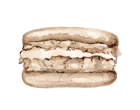 One brown chocolate macaroon isolated on white background. Watercolor hand drawn illustration Zdjęcie Seryjne