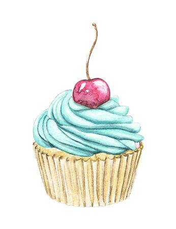 Muffin with green mint cream and berry cherry isolated on white background. Watercolor hand drawn illustration