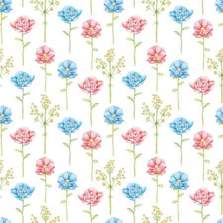 Seamless pattern with blue and red flowers isolated on white background. Watercolor hand drawn illustration