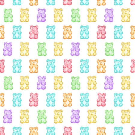 Seamless pattern with multicolored marmalade jelly bears candy isolated on white background. Watercolor hand drawn illustration