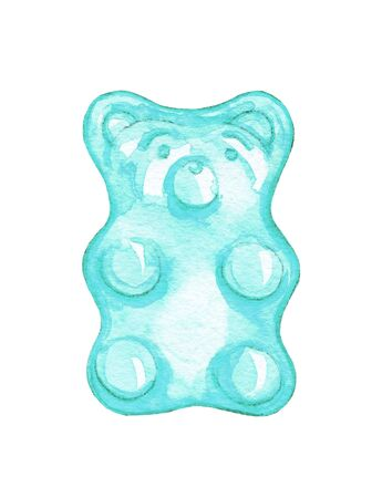 One blue mint marmalade jelly bear candy isolated on white background. Watercolor hand drawn illustration