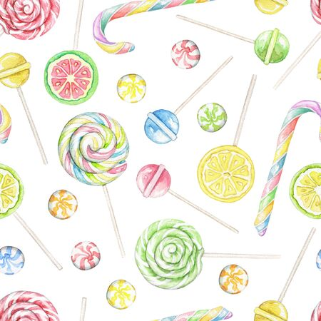 Seamless pattern with multicolor candies, lollipops and sweets isolated on white background. Watercolor hand drawn illustration Фото со стока