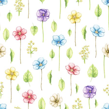 Seamless pattern with multicolored violet flowers, leaves and branches isolated on white background. Watercolor hand drawn illustration