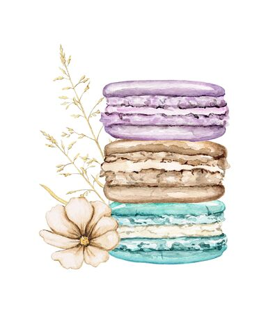 Composition pile with three various colors cakes macaroons and flower isolated on white background. Watercolor hand drawn illustration