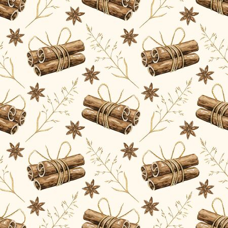 Seamless pattern with cinnamon sticks, clove stars and twigs isolated on beige background. Watercolor hand drawn illustration Zdjęcie Seryjne