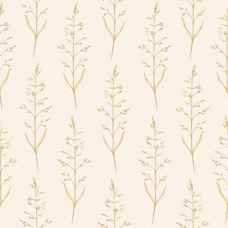 Seamless pattern with vintage graceful dry herbs herbarium on beige paper background. Watercolor hand drawn illustration