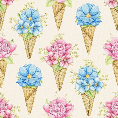 Seamless pattern with bouquets with pink and blue flowers in waffle cones on beige paper background. Watercolor hand drawn illustration