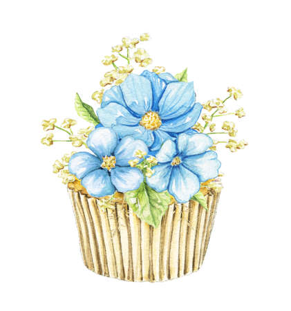 Floral bouquet composition with three blue flowers and greenery isolated on white background. Watercolor hand drawn illustration Zdjęcie Seryjne