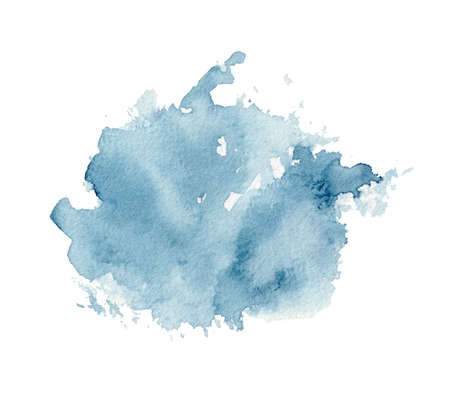 One dark blue watercolor stain isolated on white background. Watercolor hand drawn illustration