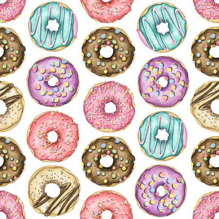 Seamless pattern with various multicolor round donuts with glaze and colorful topping isolated on white background. Watercolor hand drawn illustration