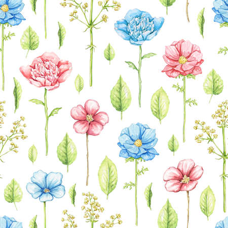 Seamless pattern with blue, red flowers and vegetation isolated on white background. Watercolor hand drawn illustration