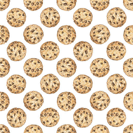 Seamless pattern with home made round chocolate chip cookies isolated on white background. Watercolor hand drawn illustration Stok Fotoğraf