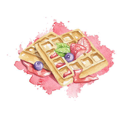 Composition of Belgian waffles, berries and jam on pink stain background. Watercolor hand drawn illustration