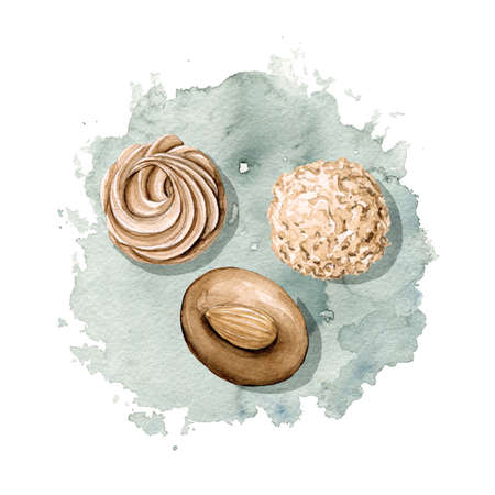 Vintage composition with three various chocolate candies on stain background. Watercolor hand drawn illustration