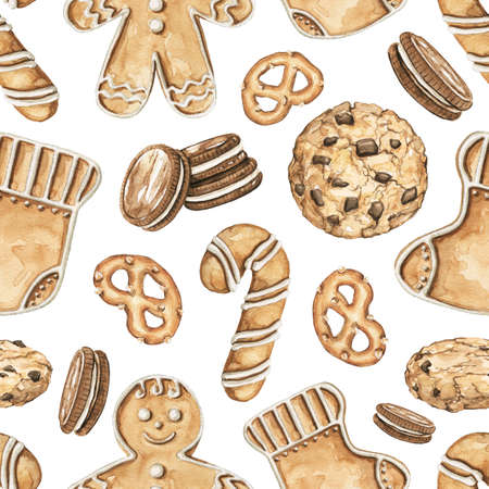 Seamless pattern with various Christmass cookies isolated on white background. Watercolor hand drawn illustration