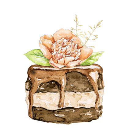 Chocolate cake brownie with floral bouquet composition isolated on white background. Watercolor hand drawn illustration