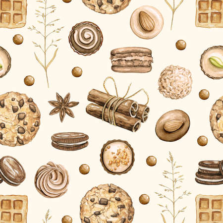 Seamless pattern with cinnamon, chocolate candies, cookies and waffles isolated on beige background. Watercolor hand drawn illustration