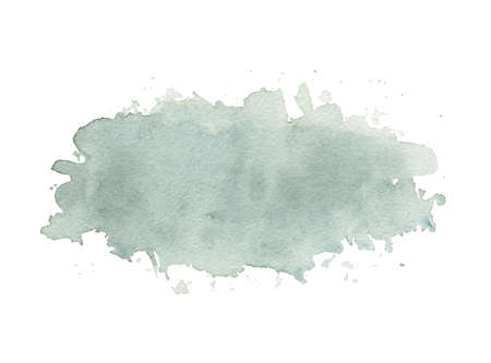 One dirty blue watercolor stain isolated on white background. Watercolor hand drawn illustration