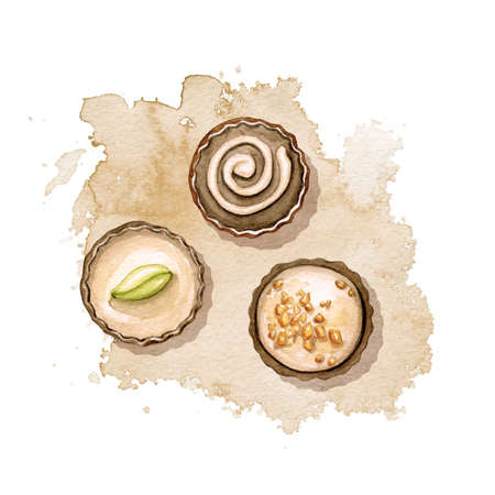 Composition with three various chocolate candies on beige stain background. Watercolor hand drawn illustration