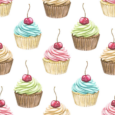 Seamless pattern with various cupcakes with cherry isolated on white background. Watercolor hand drawn illustration Zdjęcie Seryjne
