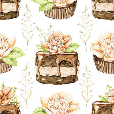 Seamless pattern with chocolate cakes brownie with flowers and twigs isolated on white background. Watercolor hand drawn illustration Zdjęcie Seryjne