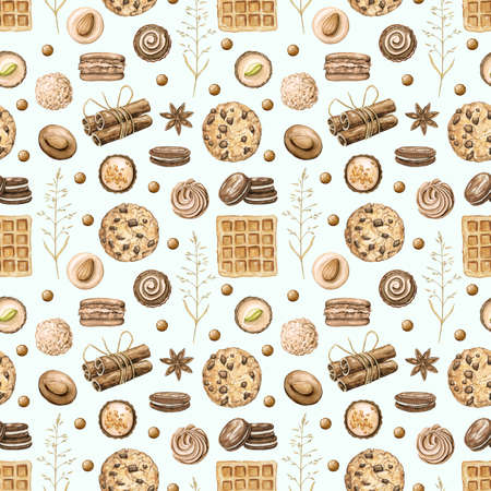 Seamless pattern with cinnamon, chocolate candies, cookies and waffles on green blue background. Watercolor hand drawn illustration