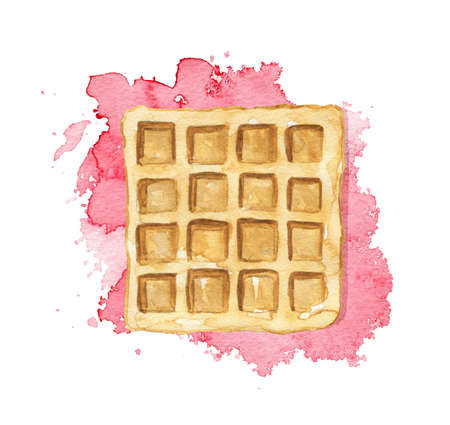 One square waffle isolated on pink jam stain background. Watercolor hand drawn illustration