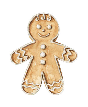 Christmas gingerbread men cookie isolated on white background. Watercolor hand drawn illustration