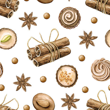 Seamless pattern with cinnamon and round chocolate candies isolated on white background. Watercolor hand drawn illustration