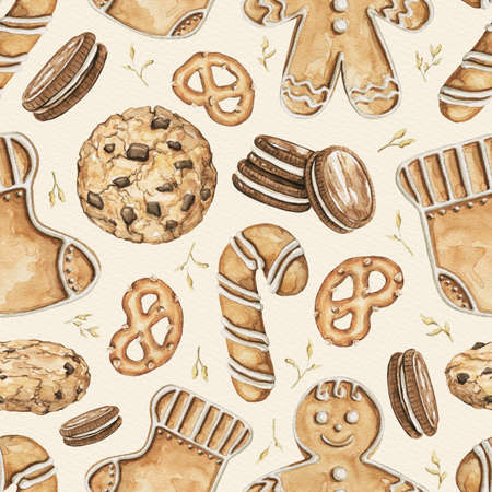 Seamless pattern with various Christmas cookies on beige paper background. Watercolor hand drawn illustration
