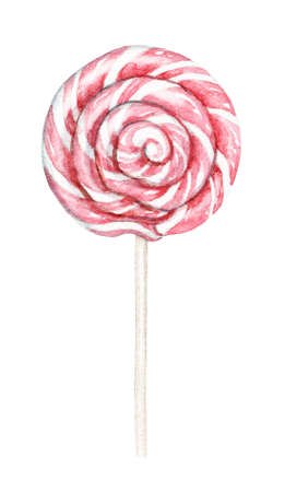 Ped striped lollipop isolated on white background. Watercolor hand drawn illustration