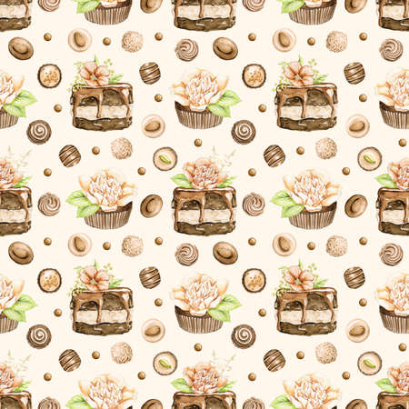 Seamless pattern with chocolate cakes with flowers and candy on beige background. Watercolor hand drawn illustration