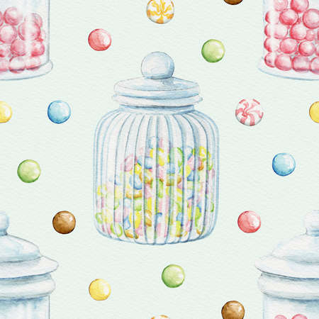 Seamless pattern with multicolor dragee candies and glass jars for sweets on blue paper background. Watercolor hand drawn illustration