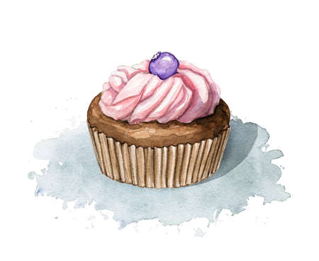 Chocolate muffin with pink cream and berry blueberry isolated on blue spot. Watercolor hand drawn illustration