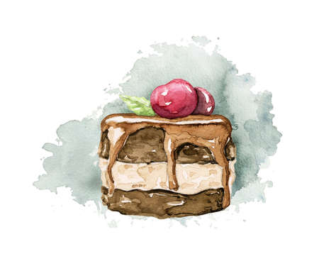 Chocolate cake with red berry cherry isolated on blue spot. Watercolor hand drawn illustration