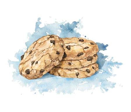 Stack of homemade chocolate chip cookies isolated on blue shadow stain background. Watercolor hand drawn illustration