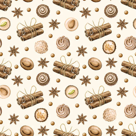 Seamless pattern with cinnamon and round chocolate candies isolated on beige background. Watercolor hand drawn illustration 版權商用圖片