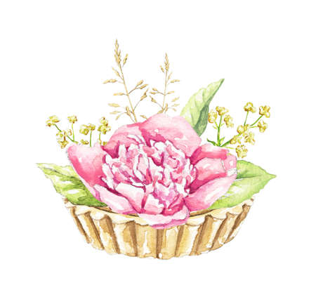 Muffin with pink peony flower and greenery isolated on white background. Watercolor hand drawn illustration